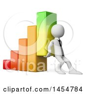 Poster, Art Print Of 3d White Business Man Lifting Up A Bar Graph On A White Background