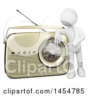 April 23rd, 2017: Clipart Graphic Of A 3d White Man Presenting A Retro Radio On A White Background Royalty Free Illustration by Texelart