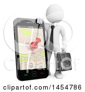 Poster, Art Print Of 3d White Business Man Leaning On A Giant Smart Phone With A Gps Map On The Screen On A White Background