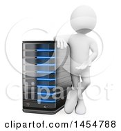 April 23rd, 2017: Clipart Graphic Of A 3d White Man Presenting A Server On A White Background Royalty Free Illustration by Texelart