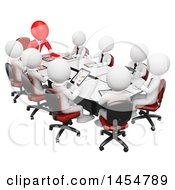 April 23rd, 2017: Clipart Graphic Of A 3d Red Business Man Leader In A Meeting With White Employees On A White Background Royalty Free Illustration by Texelart