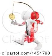 Poster, Art Print Of 3d White Business Man Chasing After Money On A Stick With A Red Boss On His Back On A White Background