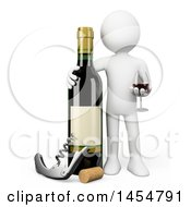 April 23rd, 2017: Clipart Graphic Of A 3d White Man With A Giant Wine Bottle On A White Background Royalty Free Illustration by Texelart