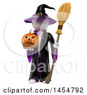 April 23rd, 2017: Clipart Graphic Of A 3d White Witch Holding A Jackolantern On A White Background Royalty Free Illustration by Texelart