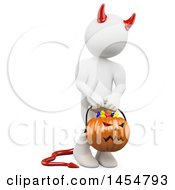 April 23rd, 2017: Clipart Graphic Of A 3d White Man Devil Holding A Jackolantern On A White Background Royalty Free Illustration by Texelart
