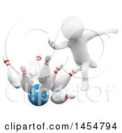 Poster, Art Print Of 3d White Man Bowling On A White Background