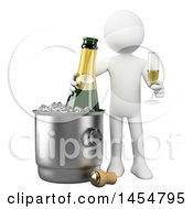 April 23rd, 2017: Clipart Graphic Of A 3d White Man With Champagne And An Ice Bucket On A White Background Royalty Free Illustration by Texelart