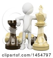 April 23rd, 2017: Clipart Graphic Of A 3d White Man With Giant Chess Pieces On A White Background Royalty Free Illustration by Texelart
