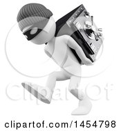Poster, Art Print Of 3d White Man Robber Carrying A Safe On A White Background