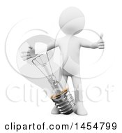 Poster, Art Print Of 3d White Man Giving A Thumb Up By A Giant Light Bulb On A White Background