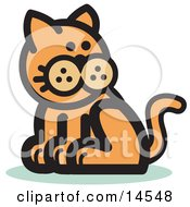 Ginger Cat Sitting And Looking Back Clipart Illustration
