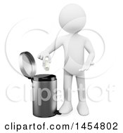 April 23rd, 2017: Clipart Graphic Of A 3d White Man Putting Garbage In A Bin On A White Background Royalty Free Illustration by Texelart