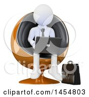 April 23rd, 2017: Clipart Graphic Of A 3d White Business Man Sitting In A Pod Chair And Using A Laptop On A White Background Royalty Free Illustration by Texelart