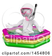 Poster, Art Print Of 3d White Man Wearing A Snorkel Mask In A Pool On A White Background