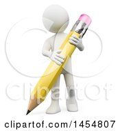 Poster, Art Print Of 3d White Man Holding A Giant Pencil On A White Background
