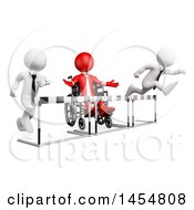 Clipart Graphic Of A 3d Red Disabled Business Man In A Wheelchair Blocked By Barriers In A Race Against Opponents On A White Background Royalty Free Illustration