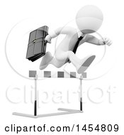April 23rd, 2017: Clipart Graphic Of A 3d White Business Man Leaping Over A Hurdle On A White Background Royalty Free Illustration by Texelart