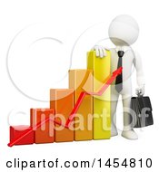 Poster, Art Print Of 3d White Business Man Leaning On A Growth Bar Graph On A White Background
