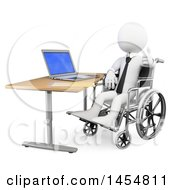 3d White Disabled Business Man Giving A Thumb Up In A Wheelchair While Working On A Laptop On A White Background