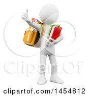 Poster, Art Print Of 3d White Man Student Wearing A Backpack Carrying Books And Giving A Thumb Up On A White Background
