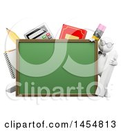 Poster, Art Print Of 3d White Man Student Or Teacher With School Supplies Around A Chalkboard On A White Background