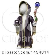 Poster, Art Print Of 3d White Man Wizard Holding A Staff And Crystal Ball On A White Background