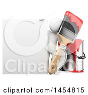 Clipart Graphic Of A 3d White Man Painter With A Giant Brush Next To A Sign On A White Background Royalty Free Illustration