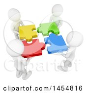 Poster, Art Print Of 3d Team Of White Men Putting Puzzle Pieces Together On A White Background
