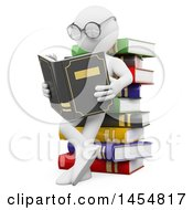Poster, Art Print Of 3d White Man Student Reading Against A Stack Of Books On A White Background