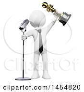 Clipart Graphic Of A 3d White Business Man Giving A Speech And Holding Up An Oscar On A White Background Royalty Free Illustration