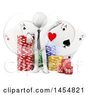 Clipart Graphic Of A 3d White Business Man With Casino Dice Poker Chips And Playing Cards On A White Background Royalty Free Illustration