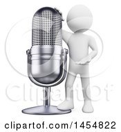 Clipart Graphic Of A 3d White Man Presenting A Giant Microphone On A White Background Royalty Free Illustration