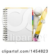 Poster, Art Print Of 3d White Man Holding A Pencil By A Notebook On A White Background
