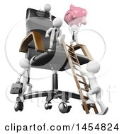 Clipart Graphic Of A 3d White Business Man Holding Up A Piggy Bank And Climbing A Giant Chair With Competitors On A White Background Royalty Free Illustration