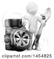 3d White Man Mechanic Holding A Wrench By Tires On A White Background