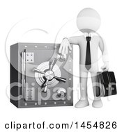 Poster, Art Print Of 3d White Business Man Leaning On A Safe On A White Background