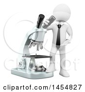 Clipart Graphic Of A 3d White Business Man With A Microscope For Research And Development On A White Background Royalty Free Illustration