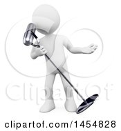 Clipart Graphic Of A 3d White Man Singing Into A Microphone On A White Background Royalty Free Illustration