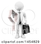 Clipart Graphic Of A 3d White Business Man Reading A Long Invoice On A White Background Royalty Free Illustration