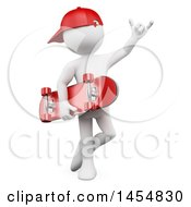 Clipart Graphic Of A 3d White Man Skater Holding A Skateboard On A White Background Royalty Free Illustration