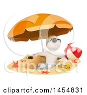 April 24th, 2017: Clipart Graphic Of A 3d White Man In A Sand Pool On A Beach On A White Background Royalty Free Illustration by Texelart