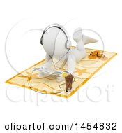 Poster, Art Print Of 3d White Man Wearing Headphones And Using A Tablet On A Beach Towel On A White Background