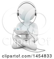 Poster, Art Print Of 3d White Man Sitting On The Floor And Using A Tablet On A White Background