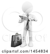Poster, Art Print Of 3d White Man Standing And Using A Tablet Computer On A White Background