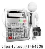 Poster, Art Print Of 3d White Business Man Accountant Leaning On A Giant Calculator On A White Background