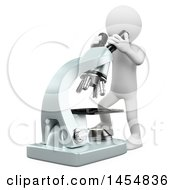 Clipart Graphic Of A 3d White Man Looking Through A Microscope On A White Background Royalty Free Illustration