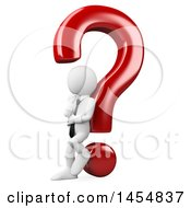 Clipart Graphic Of A 3d White Business Man Thinking And Leaning Against A Question Mark On A White Background Royalty Free Illustration