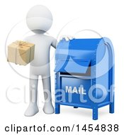 Poster, Art Print Of 3d White Man Putting A Package In A Mail Box On A White Background