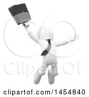 Clipart Graphic Of A 3d White Business Man Jumping With A Briefcase On A White Background Royalty Free Illustration