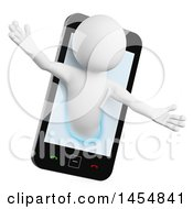Clipart Graphic Of A 3d White Man Emerging From A Smart Phone Screen On A White Background Royalty Free Illustration by Texelart